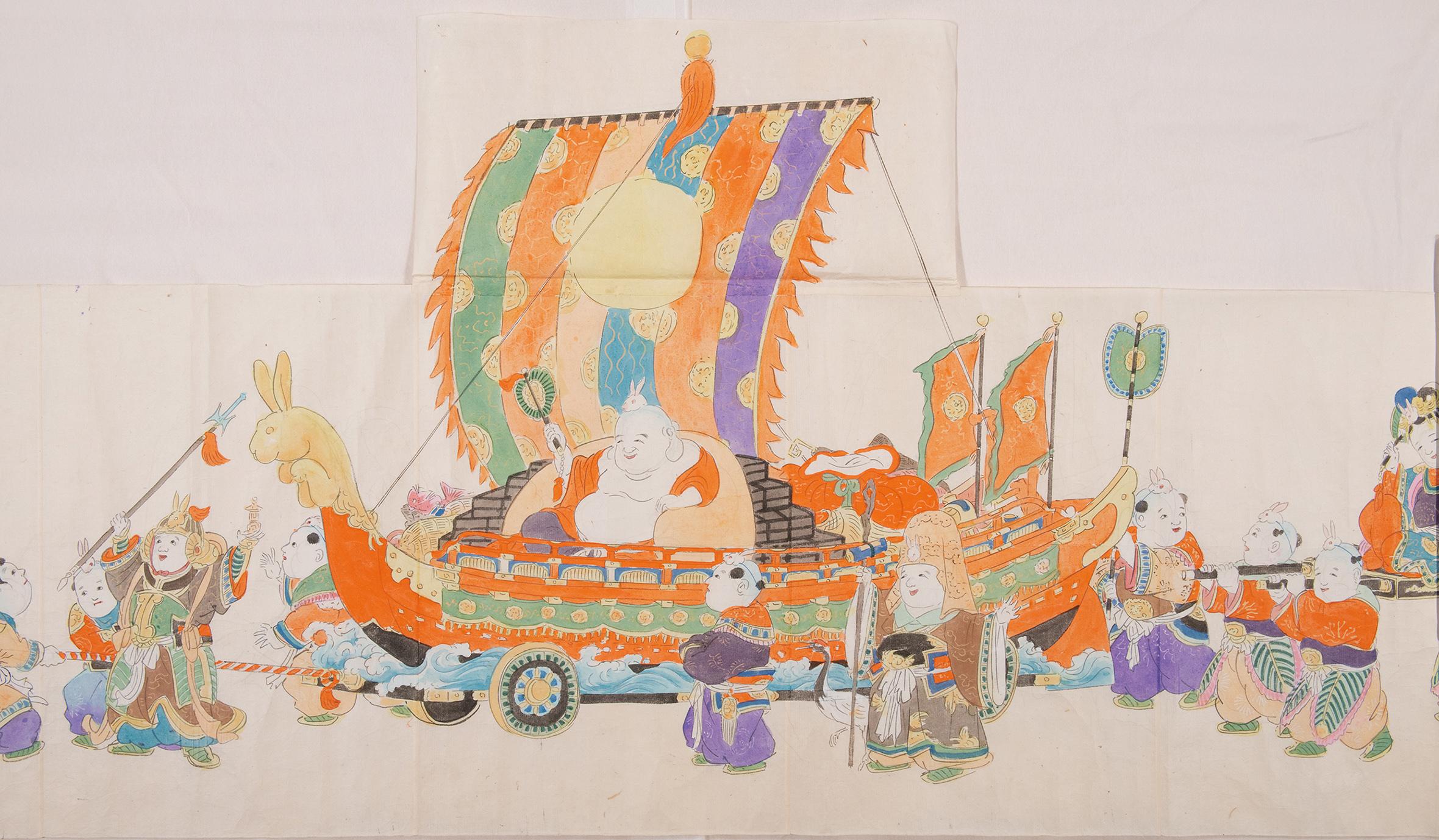 「木彫彩色御所人形 製作時下絵」紙本彩色 3枚のうち 五世大木平藏製 昭和14年(1939) 静嘉堂文庫美術館蔵 【全期間展示】