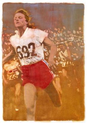 《Lady Runner》油彩 キャンバス 58×41cm