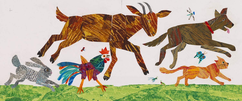 『どこへいくの?ともだちにあいに!』最終原画、 2000年、 エリック・カール絵本美術館 (C)2001 Eric Carle
