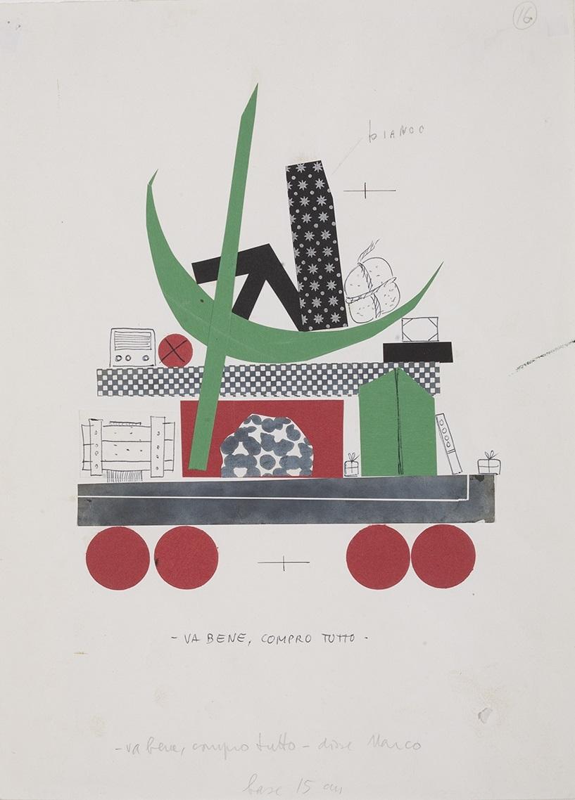 ブルーノ・ムナーリ 《わかったよ。みんな、買うよ ジャンニ・ロダーリ『クリスマスツリーの惑星』のための挿絵の習作》  制作年不詳(1962年)  パルマ大学CSAC (C) Bruno Munari. All rights reserved to Maurizio Corraini srl. Courtesy by Alberto Munari