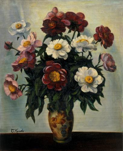 金子保《芍薬の花》1919年 油彩・キャンバス