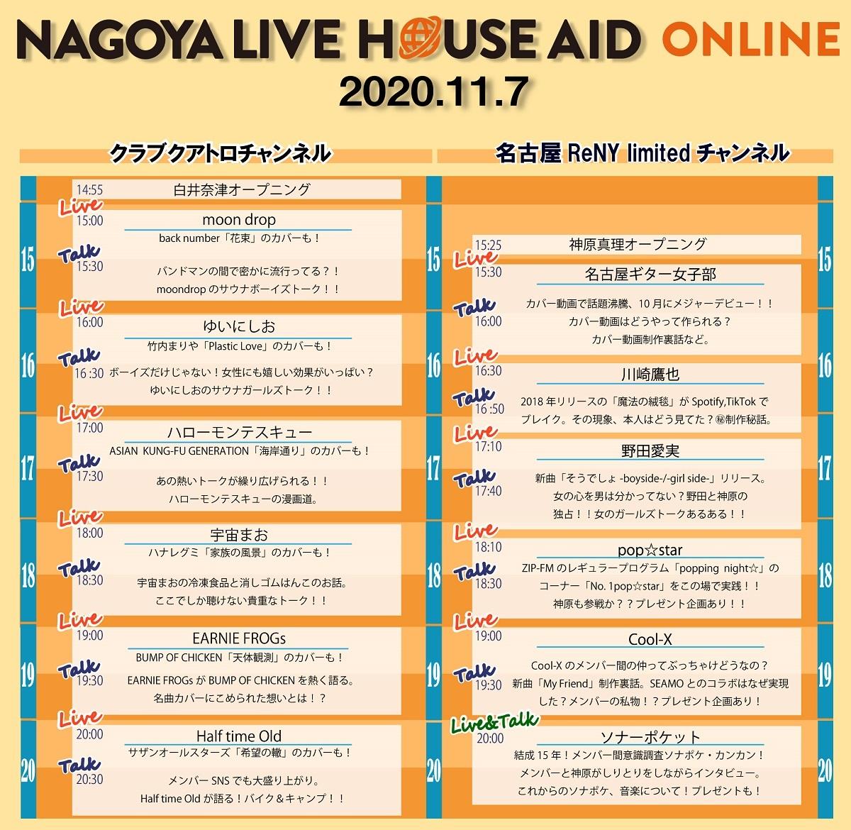 NAGOYA LIVE HOUSE AID -online- タイムテーブル