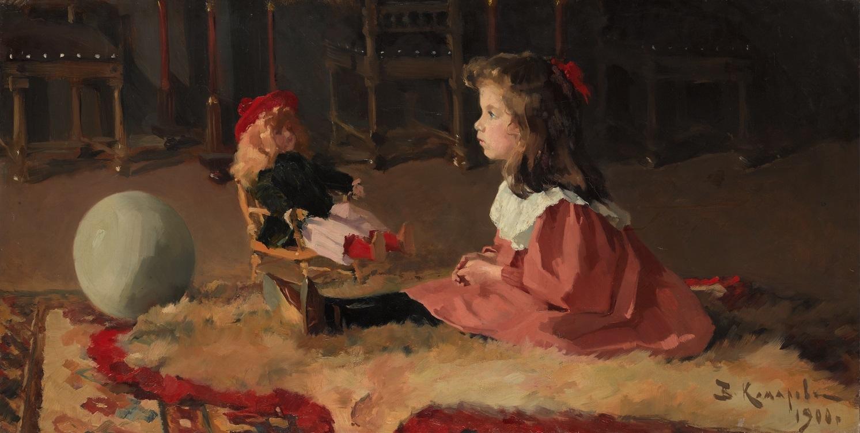 ワシーリー・コマロフ 《ワーリャ・ホダセーヴィチの肖像》 1900年 油彩・キャンヴァス (C) The State Tretyakov Gallery