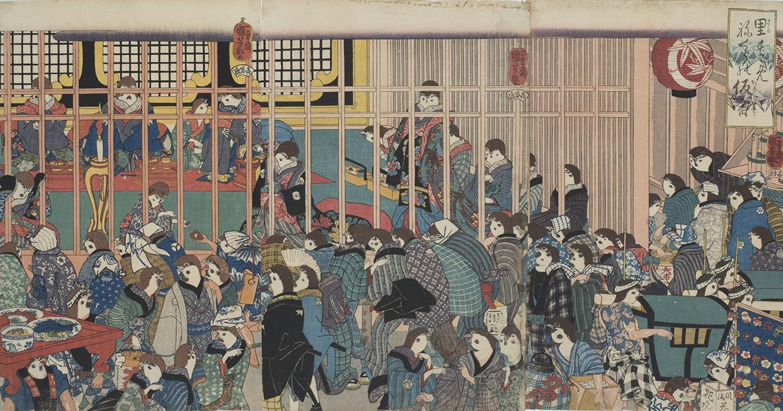歌川国芳「里すゞねぐらの仮宿」名古屋市博物館蔵(高木繁コレクション)
