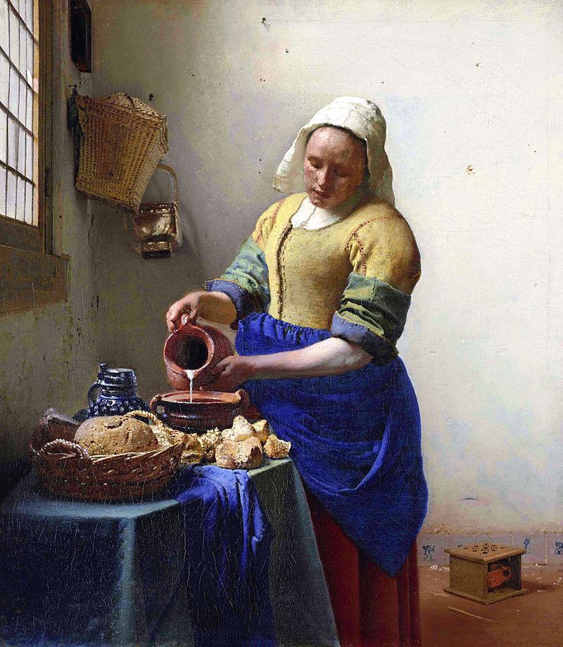 《牛乳を注ぐ女》ヨハネス・フェルメール作  1657年 - 1658年頃 アムステルダム国立美術館 出典=ウィキメディア・コモンズ (Wikimedia Commons)