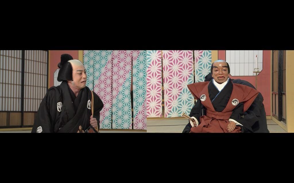 「図夢歌舞伎『忠臣蔵』第四回」(左から)寺岡平右衛門=松本幸四郎、口上人形=市川猿弥