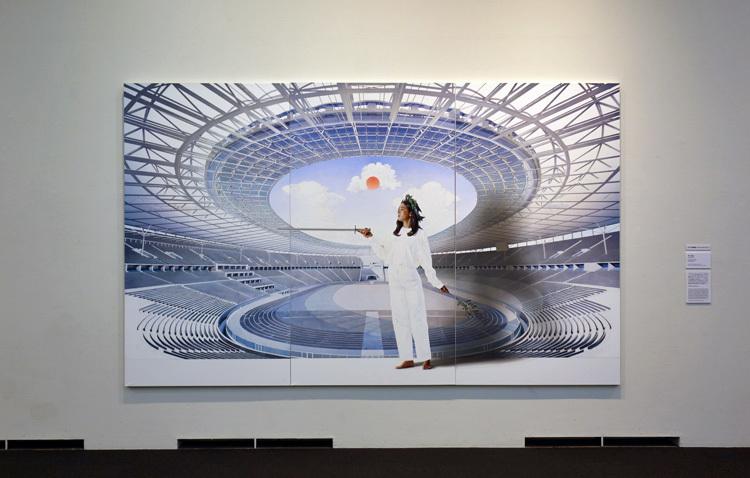 李晶玉《Olympia 2020》墨、アクリル、デジタルプリント、パネル、紙