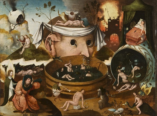 ヒエロニムス・ボス工房 《トゥヌグダルスの幻視》 1490-1500年頃 油彩、板 ラサロ・ガルディアーノ財団 © Fundación Lázaro Galdiano