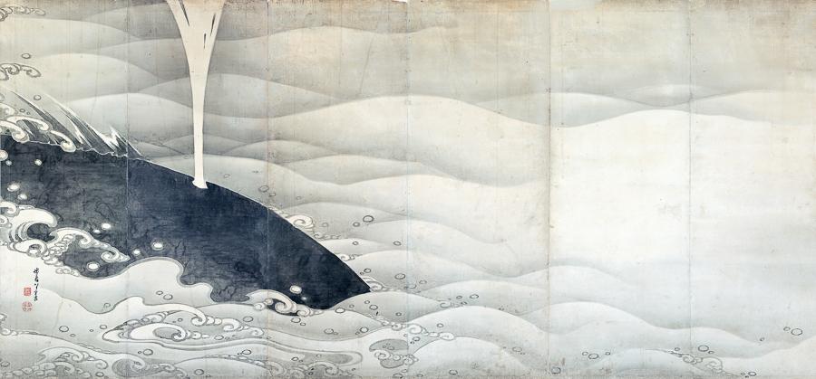 伊藤若冲《象と鯨図屏風》(左隻)寛政9(1797)年 滋賀・MIHO MUSEUM