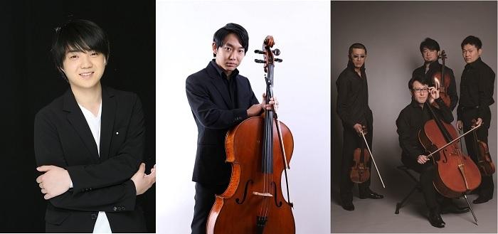 (左から)藤田真央、佐藤晴真、YAMATO String Quartet