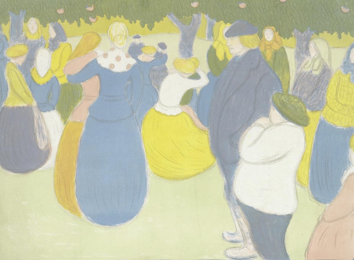 ヨージェフ・リップル=ローナイ《村の祭り(画家=版画家集)》 1896年 多色刷りリトグラフ アムステルダム、ファン・ゴッホ美術館