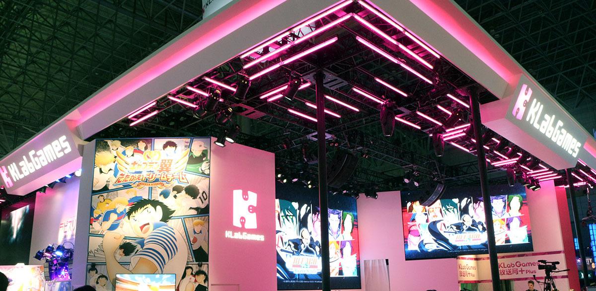 スマホゲームコーナーでビッグタイトルを展開しているKLabGAMESのブース/撮影:梅田勝司