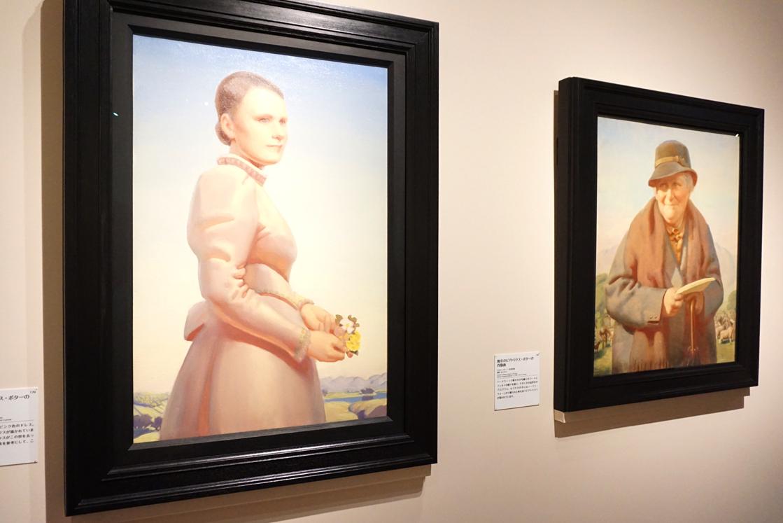 デルマー・バナー(左)『若き日のビアトリクス・ポターの肖像画』1948年頃/(右)『晩年のビアトリクス・ポターの肖像画』1938年頃 英国ナショナル・トラスト所蔵