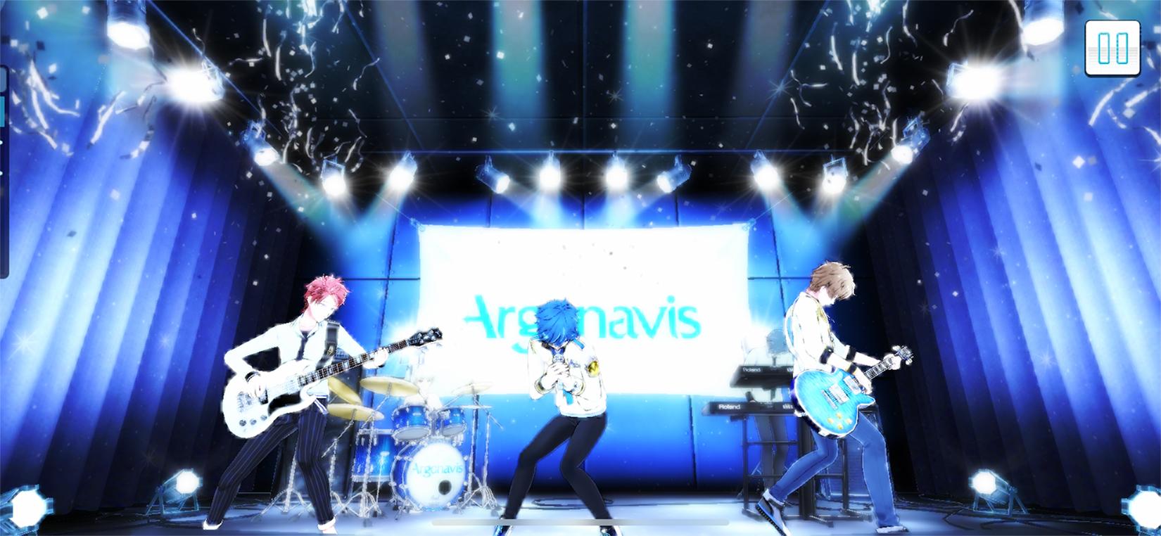 ゲーム「AAside」のプレイ画面 (C)ARGONAVIS project. (C)DeNA Co., Ltd. All rights reserved. (C)bushiroad All Rights Reserved.