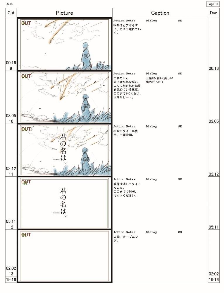 監督・新海誠による本作の絵コンテ©2016「君の名は。」製作委員会