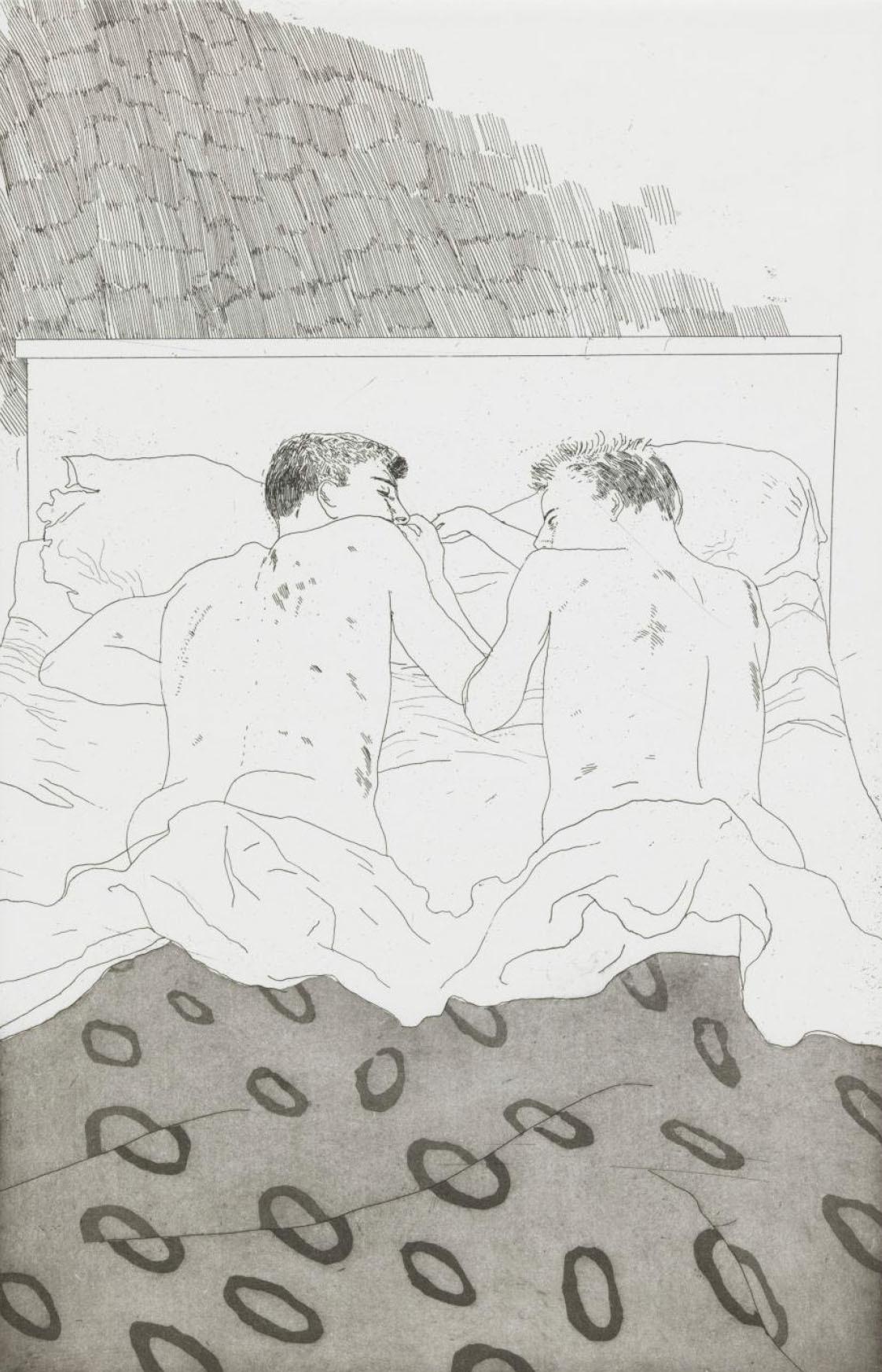 デイヴィッド・ホックニー 《23, 4歳のふたりの男子》C.P. カヴァフィスの14編の詩のための挿絵より 1966年エッチング、アクアチント/紙 34.5×22.3cm