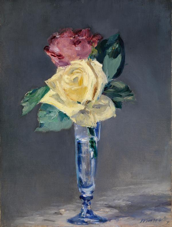 エドゥアール・マネ 《シャンパングラスのバラ》 1882年、油彩・カンヴァス (C) CSG CIC Glasgow Museums Collection