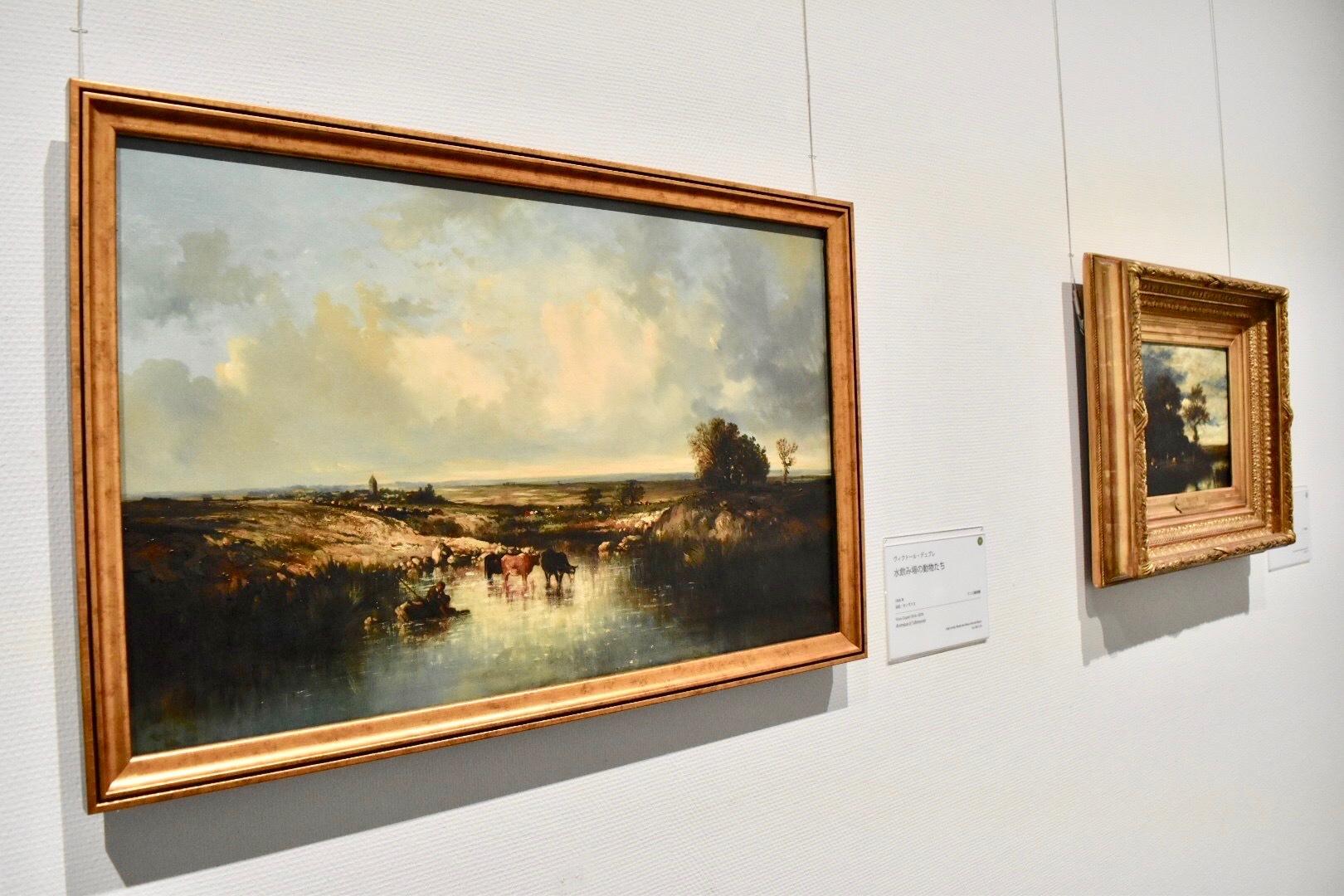 左:ヴィクトール・デュプレ 《水飲み場の動物たち》 1848年 ランス美術館蔵