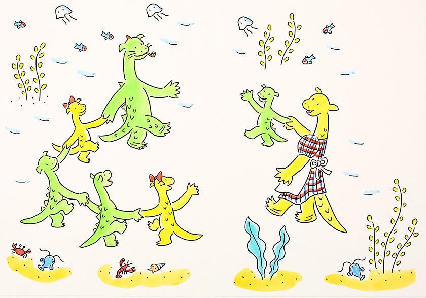 西川おさむ画「ネッシーのおむこさん」挿絵原画 『角野栄子のちいさなどうわたち 4』 2007年3月 ポプラ社