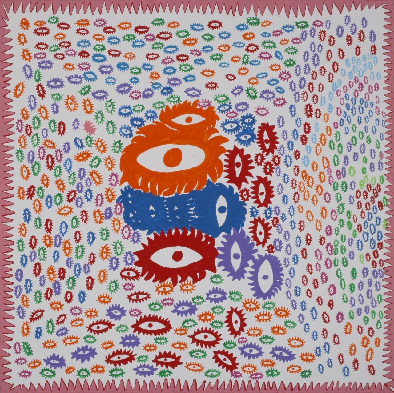 草間彌生 わたしの大好きな眼たち 2013年 アクリル・キャンバス 194×194cm ©YAYOI KUSAMA