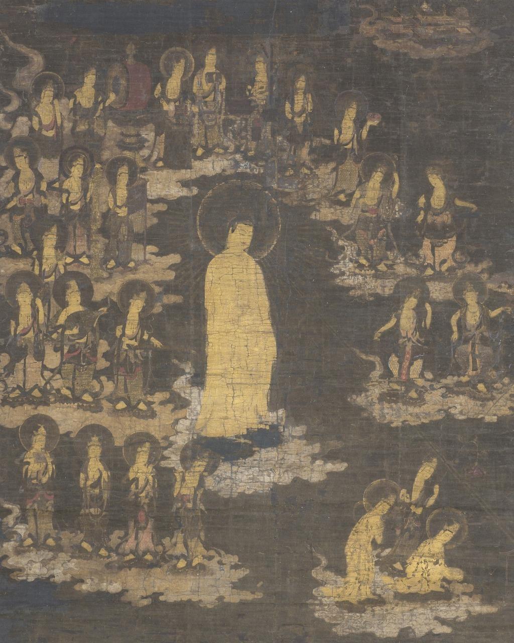 阿弥陀二十五菩薩来迎図 絹本着色 1幅 室町時代 京都・知恩院蔵