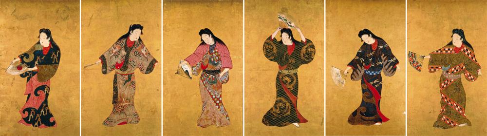 舞踊図 六面 江戸時代 17世紀 サントリー美術館