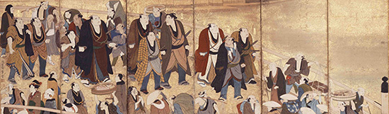 江戸大相撲生写之図(えどおおずもうせいしゃのず)左隻 享和~文化年間(1801~18年) 相撲博物館蔵。展示期間:7月31日まで。