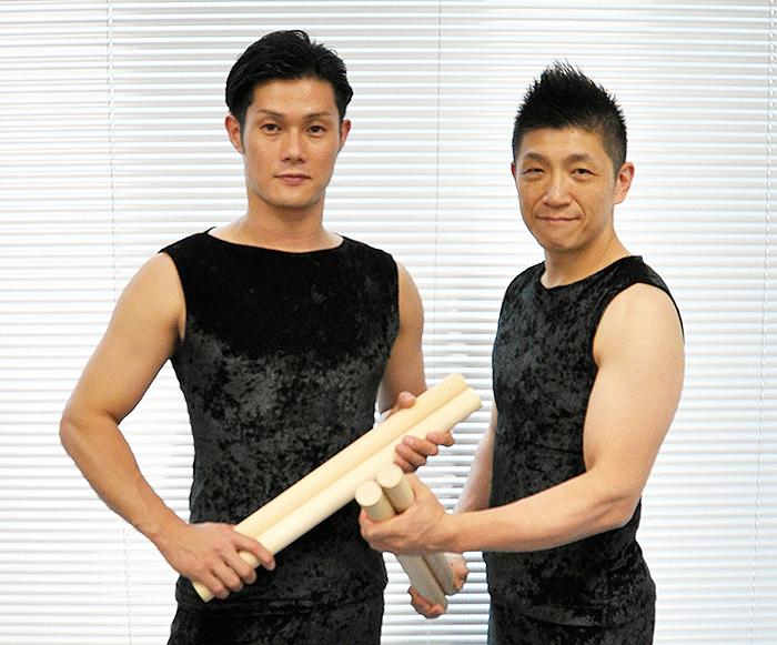 左から、坂本雅幸・船橋裕一郎(鼓童代表)