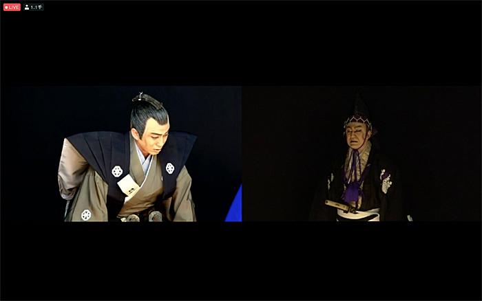 「図夢歌舞伎『忠臣蔵』第一回」右から、高師直=松本幸四郎、加古川本蔵=松本幸四郎(©松竹)
