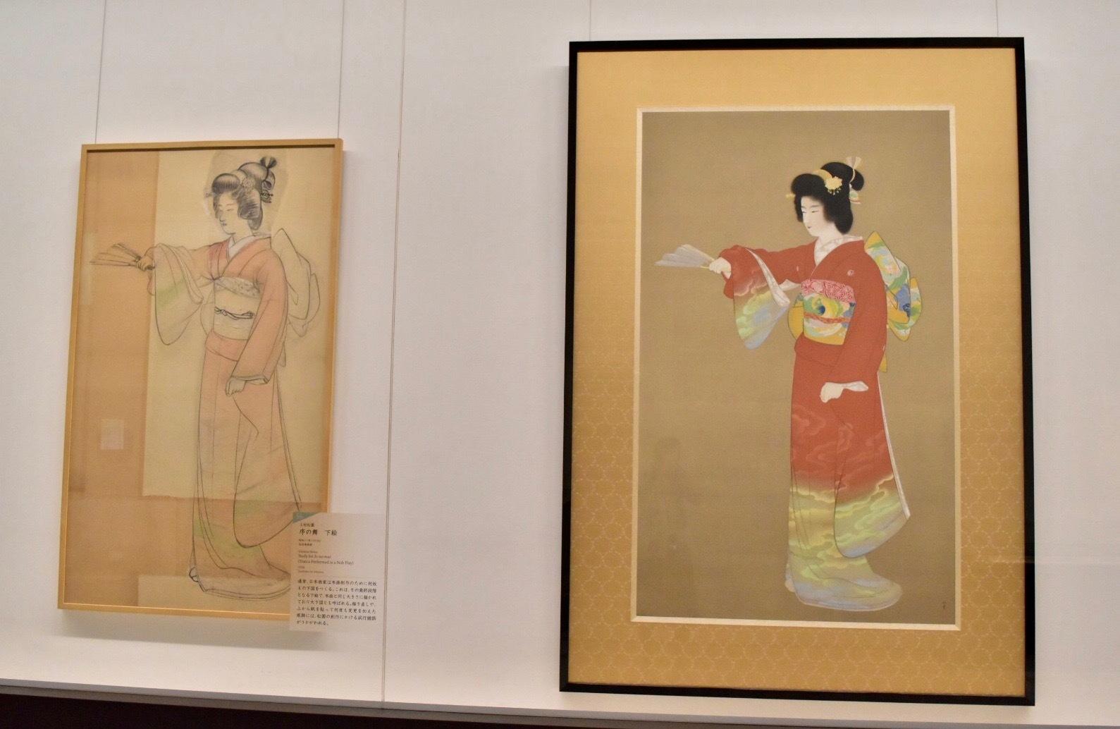 右:上村松園 《序の舞》(重要文化財)昭和11年 東京藝術大学蔵 左:上村松園 《序の舞 下絵》 昭和11年 松伯美術館蔵