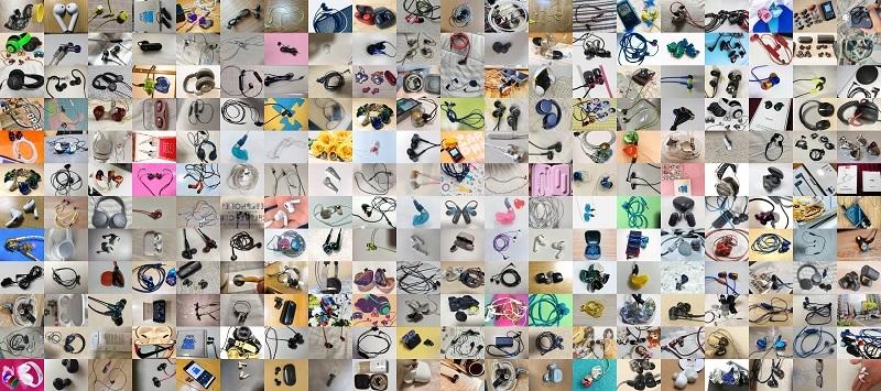集まった数々のイヤホン・ヘッドホン写真の一部。これらがモザイクアートとなる予定