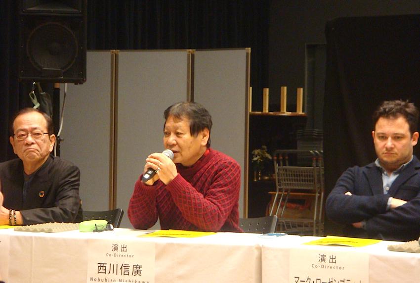 左から・プロデューサーの衛紀生、演出の西川信廣、演出のマーク・ローゼンブラット