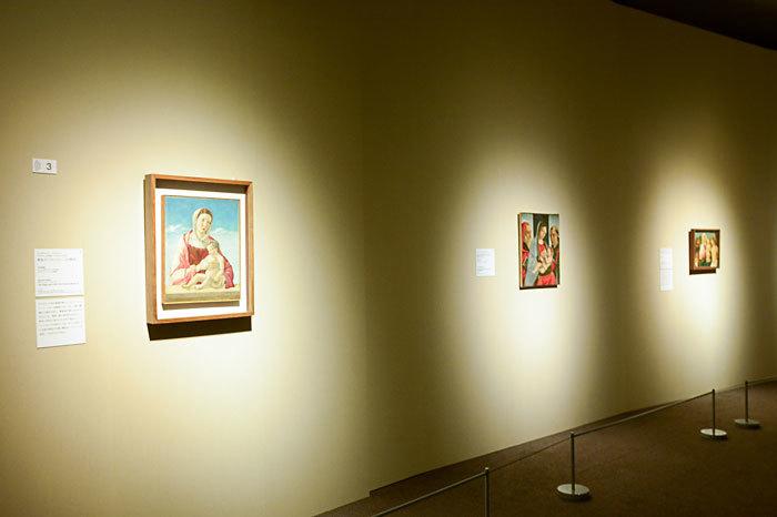 (左)ジョヴァンニ・ベッリーニ《聖母子(フリッツォーニの聖母)》1470年頃、ヴェネツィア、コッレール美術館