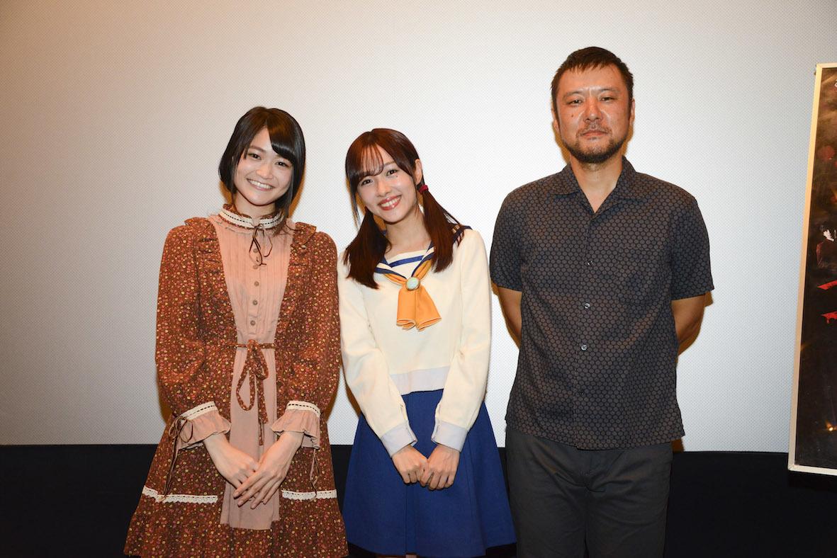 左から、欅坂47・石森虹花、前田希美、山田雅史監督