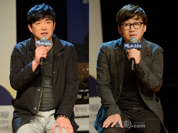 俳優としても出演する演出のイム・チョリョン(左)と音楽監督のビョン・ヒソク