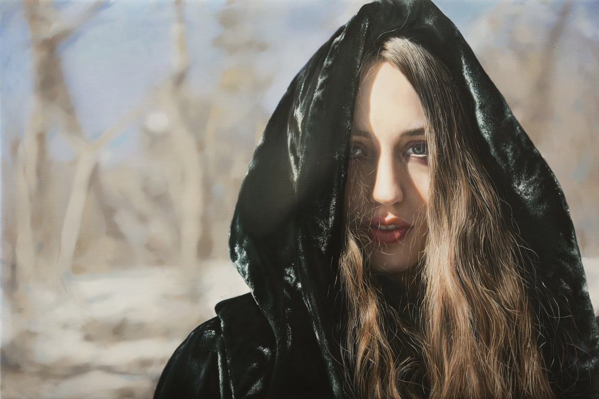 """Untitled; Lizzie in the Snow"" oil on canvas, 50.8 x 76.2 cm ©Yigal Ozeri, Courtesy of the artist"