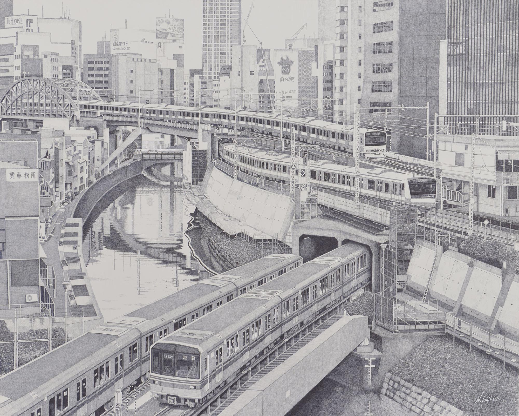 石橋 暢之(いしばし のぶゆき) 《ジオラマの様な風景》2016 年 ボールペン画 130×162 ㎝ 1944 年生まれ