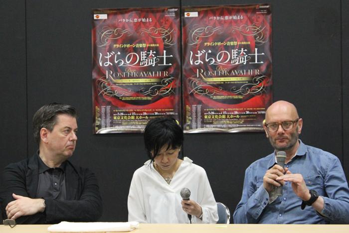 (左)セバスティアン・ヴァイグレ、(中央)通訳の家田氏、(右)リチャード・ジョーンズ