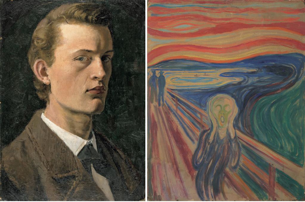 (左)エドヴァルド・ムンク《自画像》1882年 油彩、紙(厚紙に貼付) 26×19cm (右)エドヴァルド・ムンク《叫び》1910年? テンペラ・油彩、厚紙 83.5×66cm
