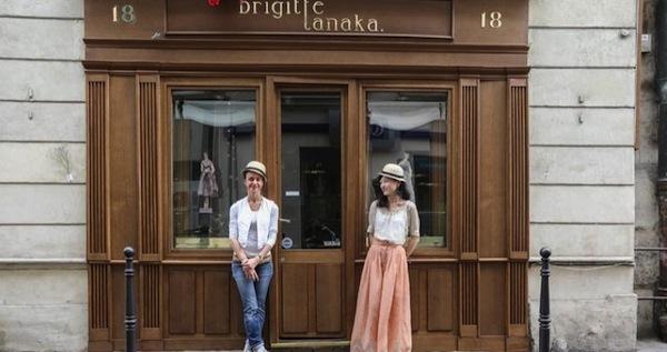 tanakaさんとパートナーのbrigitteさん。お店の前にて。