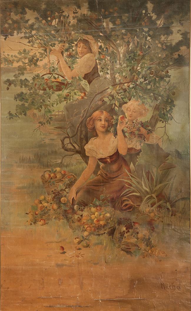 連作装飾パネル「果物(ホーム=デコ社)」1894年/リトグラフ(キャンヴァス)
