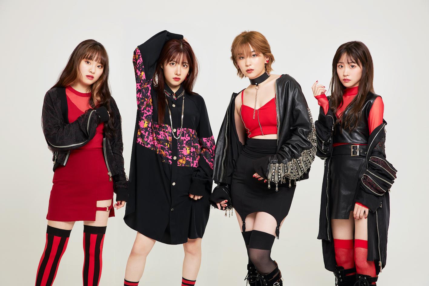 「BlooDye」新アー写(写真 左→右)一岡杏奈、礒部花凜、高槻かなこ、櫻井優衣