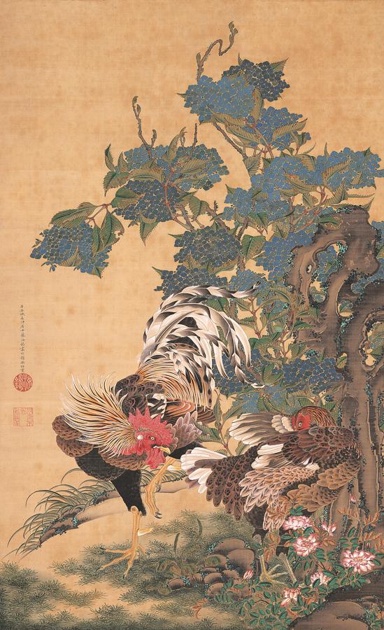 伊藤若冲《紫陽花双鶏図》18世紀 米国・エツコ&ジョー・プライスコレクション