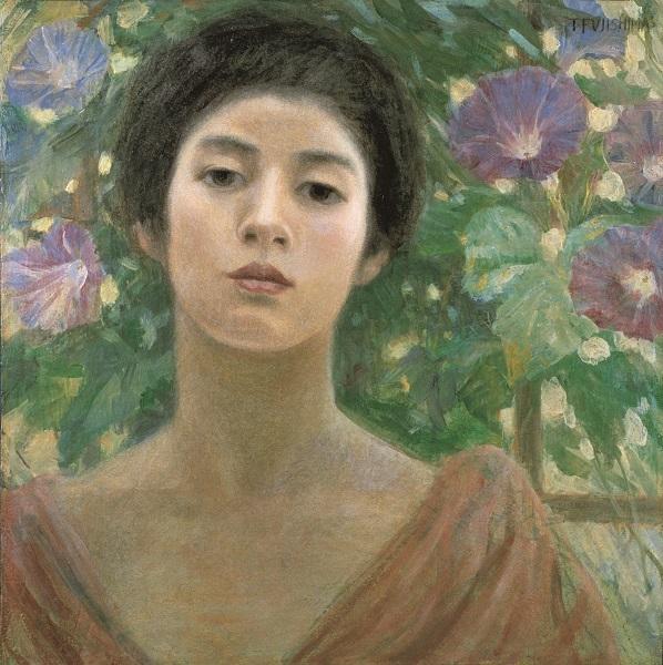 藤島武二 〔婦人と朝顔〕1904年 油彩、カンヴァス 個人蔵