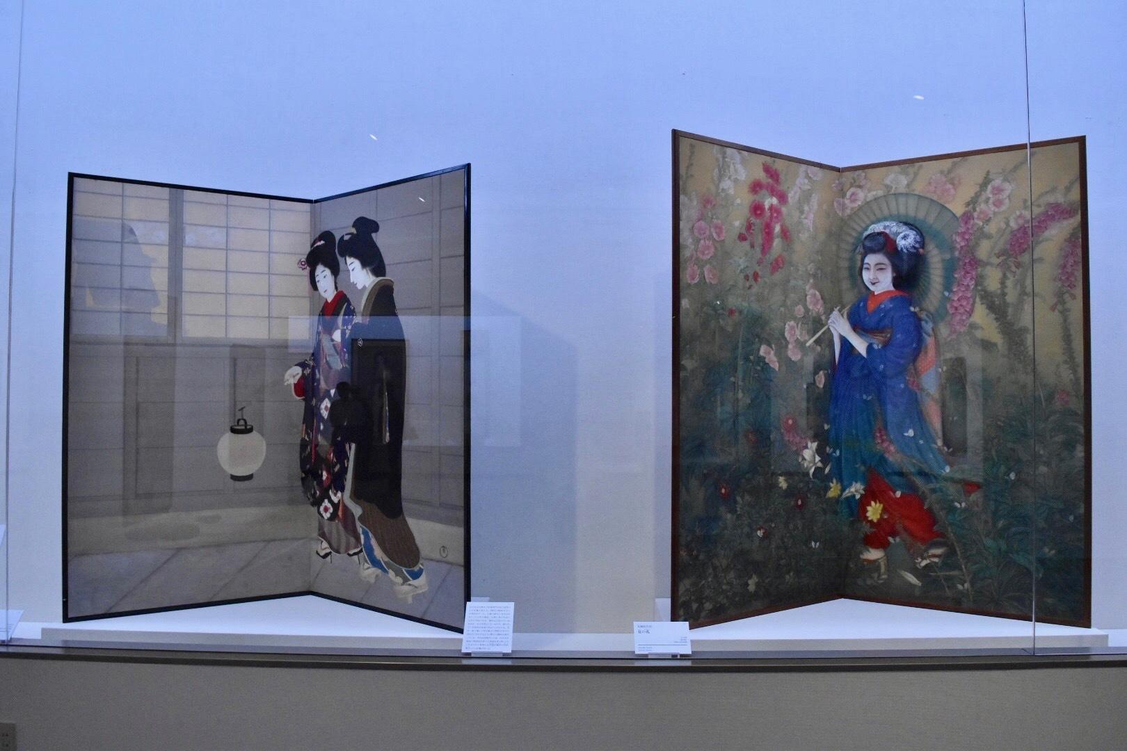 左:丸岡比呂史 《路次の細道》 大正5(1916)年 京都市立芸術大学芸術資料館 右:丸岡比呂史 《夏の苑》 大正末期 京都国立近代美術館
