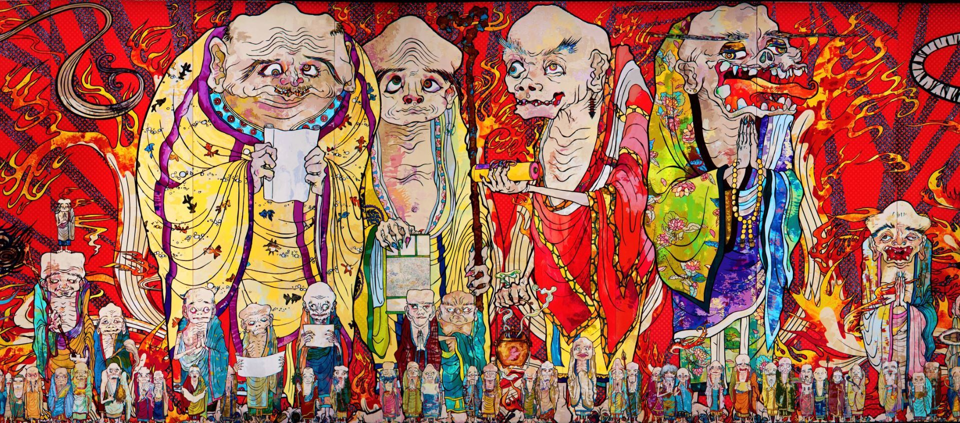 《五百羅漢図》(部分)2012年 アクリル、キャンバス、板にマウント 302 x 10,000cm 個人蔵 (c)2012 Takashi Murakami/Kaikai Kiki Co., Ltd. All Rights Reserved.