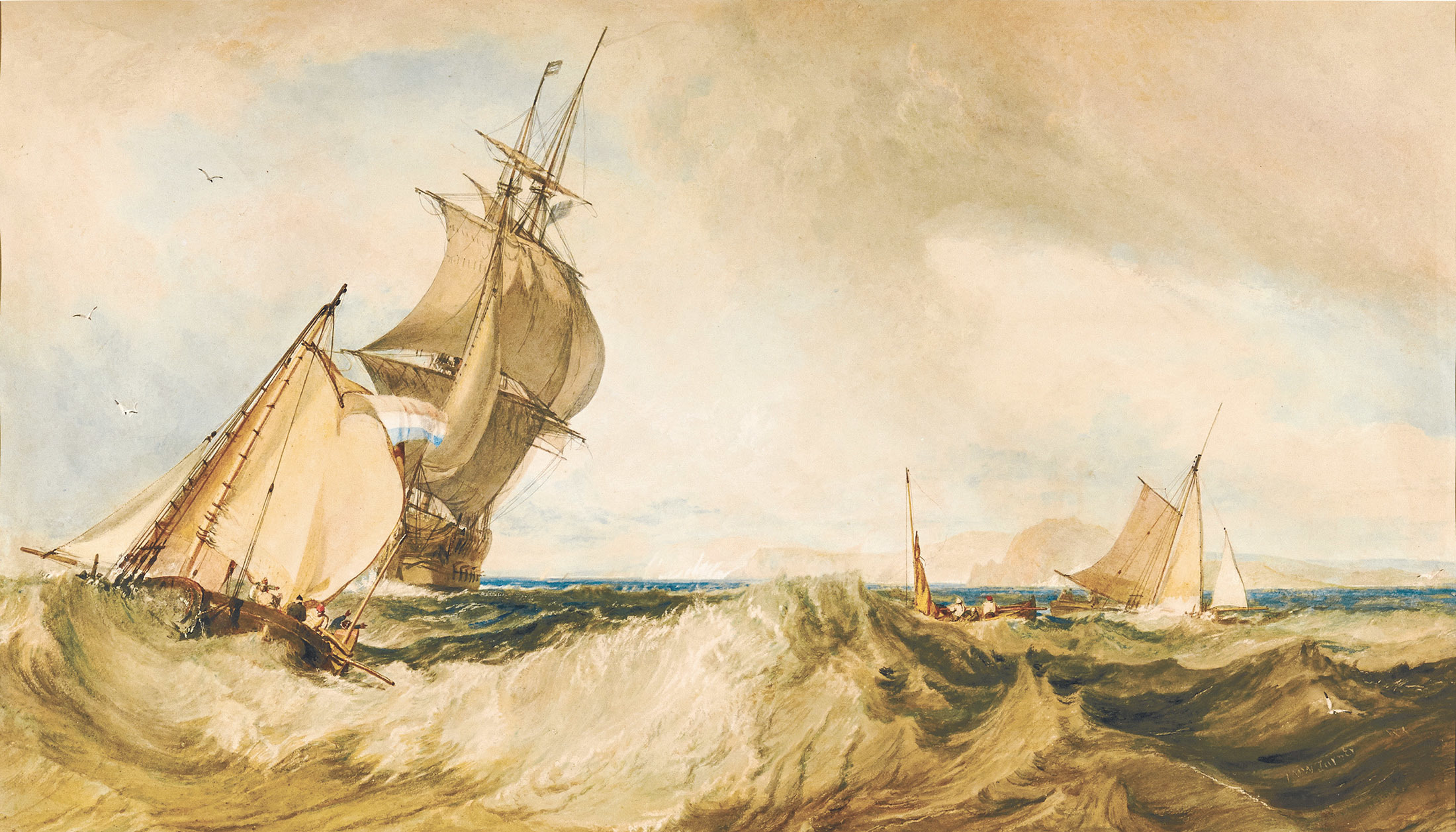《セント・オールバンズ・ヘッド沖》 1822年頃 水彩・紙 39.8×68cm ハロゲイト、メーサー・アート・ギャラリー (c)Mercer Art Gallery, Harrogate Borough Council