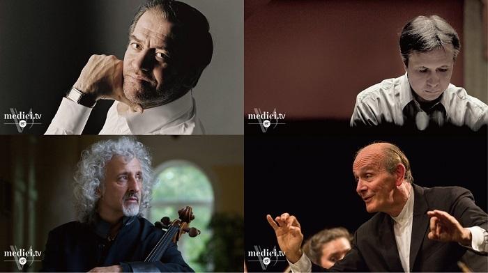 (左上)ヴァレリー・ゲルギエフ(指揮者)/(右上)ミハイル・プレトニョフ(ピアニスト)/(左下)ミッシャ・マイスキー(チェリスト)/(右下)ガボール・タカーチ=ナジ(指揮者)