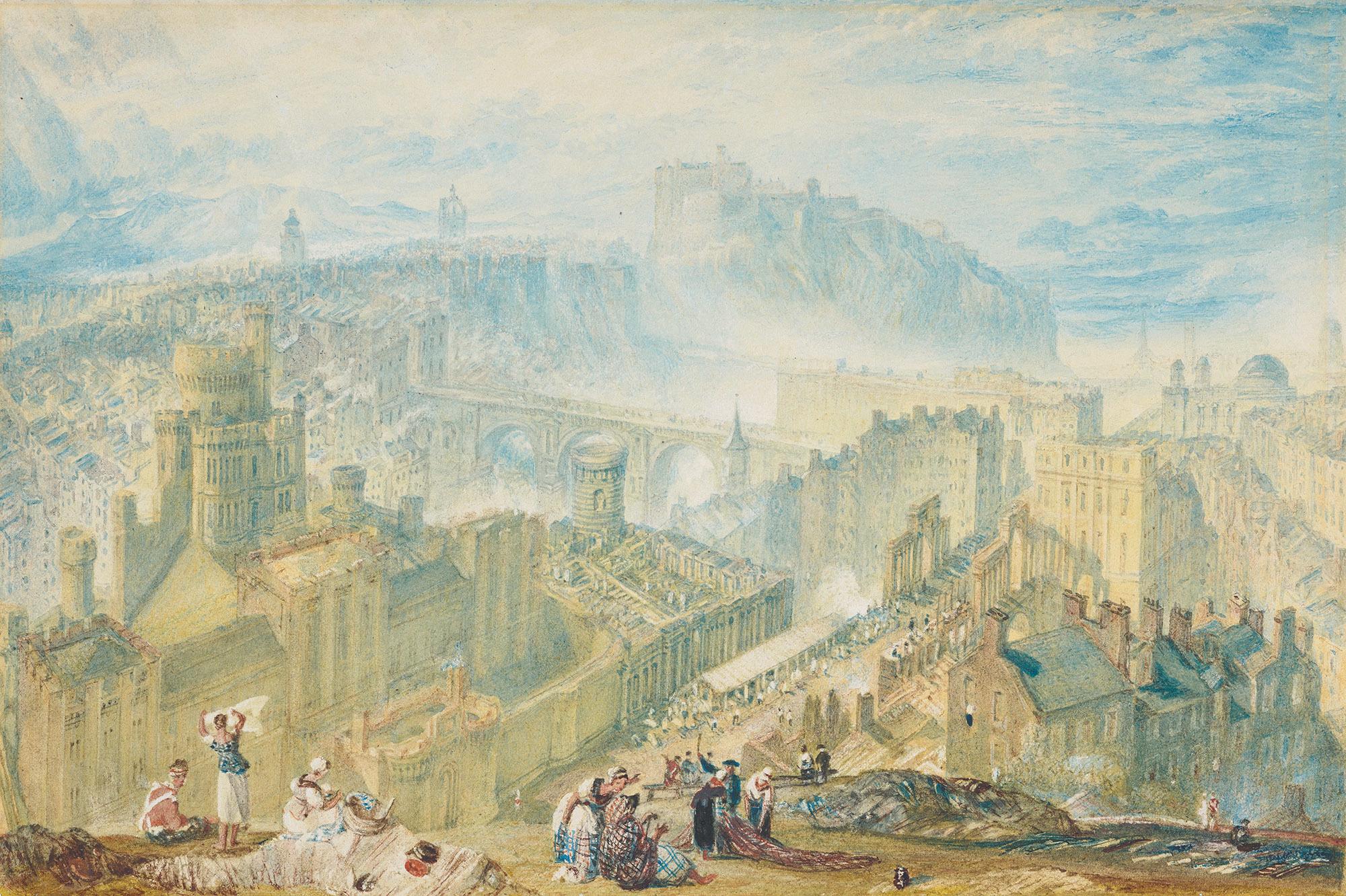 《コールトン・ヒルから見たエディンバラ》 1819年頃 水彩、鉛筆、グワッシュ、スクレイピングアウト・網目紙 16.8×24.9cm  エディンバラ、スコットランド国立美術館群 (c)Trustees of the National Galleries of Scotland