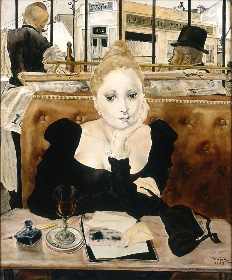《カフェ》1949年 ポンピドゥー・センター蔵 Photo (C) Musée La Piscine (Roubaix), Dist. RMN-Grand Palais / Arnaud Loubry / distributed by AMF (C) Fondation Foujita / ADAGP, Paris & JASPAR, Tokyo, 2017 E2833